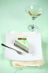 Piece of Black Sesame Matcha Entremet Cake