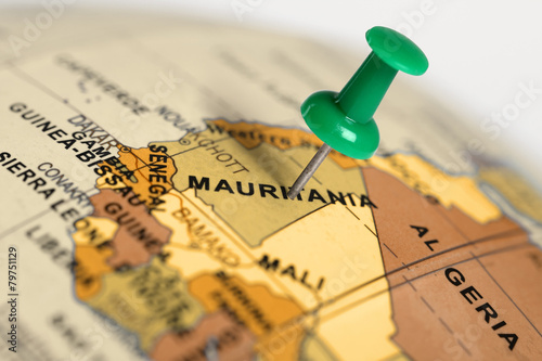Foto op Canvas Canada Location Mauritania. Green pin on the map.
