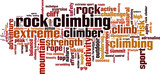 Rock climbing word cloud concept. Vector illustration