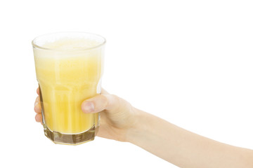 Hand holding banana smoothie