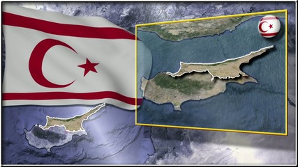 Northern Cyprus flag and map animation