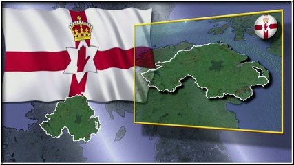 Northern Ireland  flag and map animation
