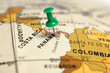 Leinwanddruck Bild - Location Panama. Green pin on the map.