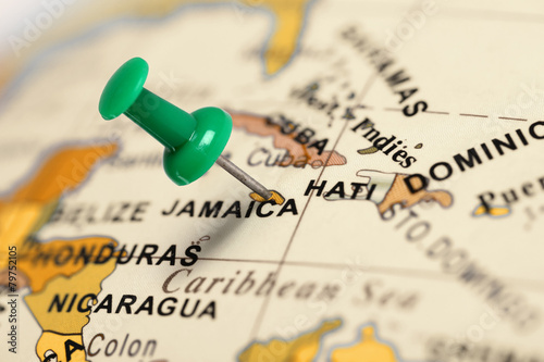 Plexiglas Centraal-Amerika Landen Location Jamaica. Green pin on the map.