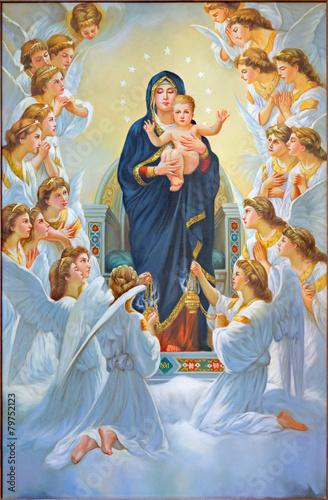 Deurstickers Midden Oosten Bethlehem - The Madonna among angels