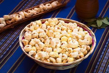 Sweetened popped white corn Pasancalla, a Bolivian snack