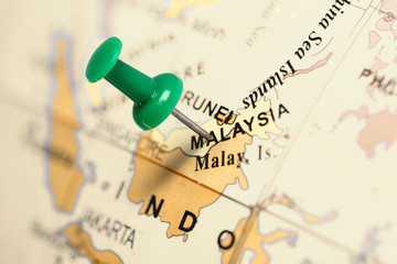Location Malaysia. Green pin on the map.
