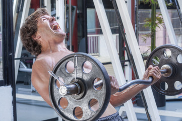 Intense barbell curl workout