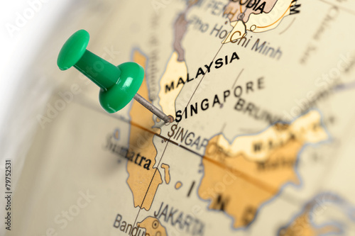 Foto op Canvas Asia land Location Singapore. Green pin on the map.