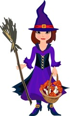 Little witch with broom and fly agaric