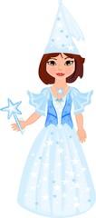 Little fairy in a blue dress