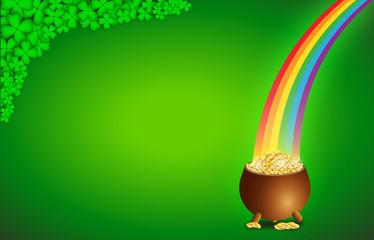 Sfondo con pentola d'oro e arcobaleno