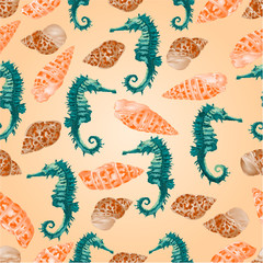 Seamless texture seahorse and seashells  vector
