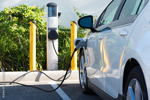 Leinwanddruck Bild Electric car charging