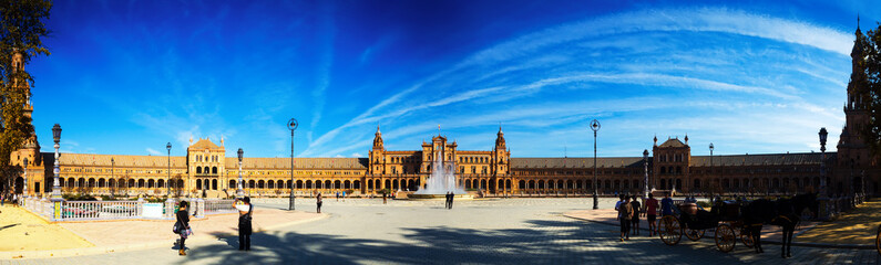 Panorama of Plaza de Espana at Seville