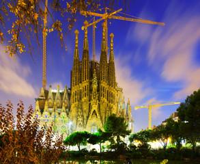 Sagrada Familia in twilight. Barcelona, Catalonia