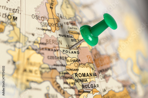 Location Poland. Green pin on the map.
