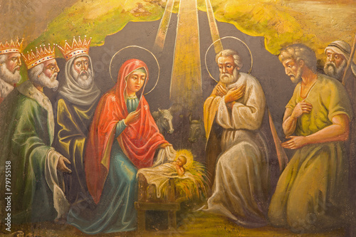 Leinwandbild Motiv Jeruselem - fresco of Nativity in The  Greek Orthodox Church