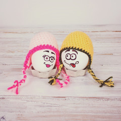 Funny Easter eggs with beanie hats