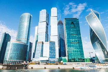 Towers of Moscow City office district in spring