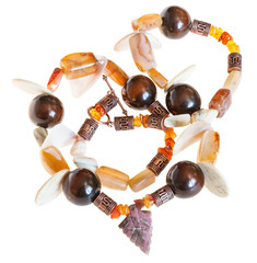 necklace from mineral stones and wooden balls