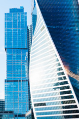 office buildings from glass and metal