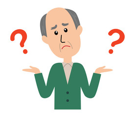 I don't know. An elderly man shrugging with question marks.