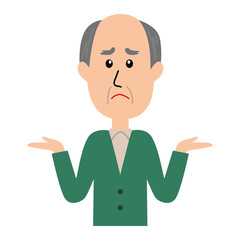 I don't know. An illustration of an elderly man shrugging.