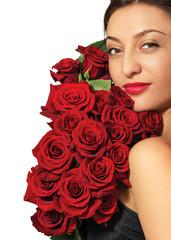 Модный портрет молодой красивой женщины с розами