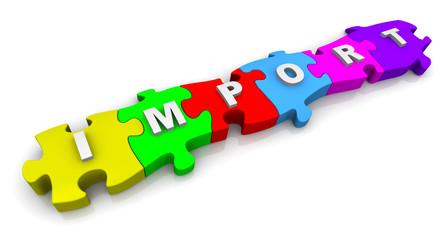 Импорт (IMPORT). Надпись на разноцветных пазлах