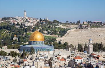 Jerusalem - Outlook to Dom of Rock and Mount of Olives.