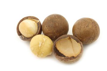 Macadamia nuts (Macadamia tetraphylla) and some peeled ones