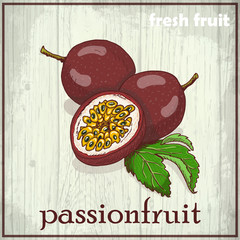 Hand drawing illustration of passionfruit
