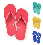 Set of Realistic Colorful Flip Flops Slippers.