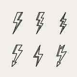 Lightning icon minimal linear contour outline style vector
