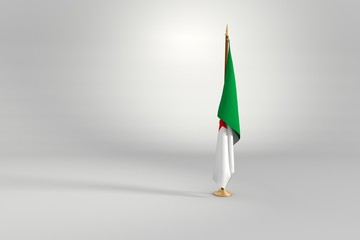 Algeria isolated flag on a wooden mast 3d illustration