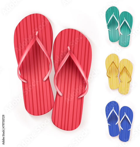 Set of Realistic Colorful Flip Flops Slippers. - 79758729