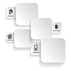 White background with four cards of the company