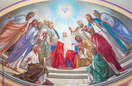 Jerusalem - Pentecost fresco in Russian cathedral - 79759939