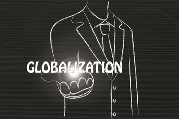 business man handing out the word Globalization