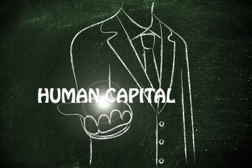 business man handing out the word Human Capital