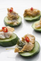 Thai fish pâté and cucumber canapés
