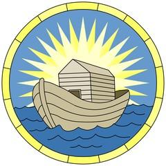 Noah's Ark (Christian Symbol), circular emblem