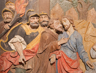 Banska Stiavnica - detail of carved relief of Betrayal of Judas