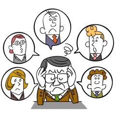 人間関係に悩む管理職のビジネスマン