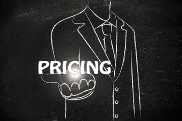business man handing out the word Pricing
