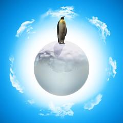 3D penguin on icy globe