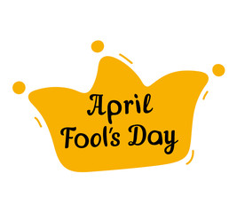 April Fools Day design with jester hat and text