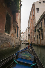 View to channel in Venice from gondola