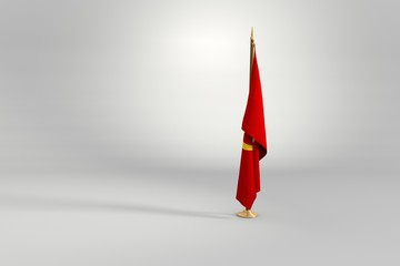 Comunist isolated flag on a wooden mast 3d illustration